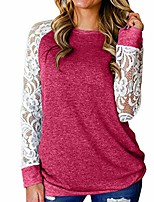 cheap -women casual round neck lace floral splicing long sleeve blouse insert shirt top hot pink