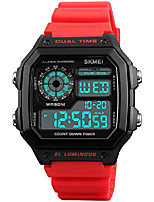 cheap -mens digital watch red rubber strap alarm stopwatch led backlight swim waterproof outdoor watches (blue)
