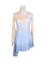 cheap -Figure Skating Dress Women's Girls' Ice Skating Dress Sky Blue Backless Asymmetric Hem Spandex High Elasticity Training Competition Skating Wear Handmade Patchwork Crystal / Rhinestone Gradient Color