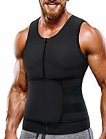 cheap -neoprene sauna suit for men waist trainer vest zipper body shaper with adjustable belt tank top (black, large)
