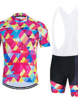 cheap -WECYCLE Men's Women's Short Sleeve Cycling Jersey with Bib Shorts Cycling Jersey with Shorts Polyester Black Dark Gray Black / White Geometic Bike Clothing Suit Breathable 3D Pad Quick Dry Reflective
