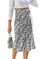 cheap -women's summer striped print long skirt casual elastic waist a line midi skirt black