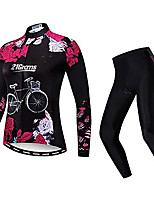 cheap -21Grams Women's Long Sleeve Cycling Jacket with Pants Winter Black Bike Warm Sports Graphic Mountain Bike MTB Road Bike Cycling Clothing Apparel / Stretchy / Athletic