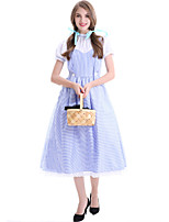 cheap -Maid Costume Cosplay Costume Masquerade Women's Movie Cosplay A-Line Slip Halloween Light Blue Dress Headband Halloween Carnival Masquerade Polyester