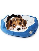 cheap -cute paw print comfortable pets dog cats puppy kitten nest mat pad soft fleece bed(blue)