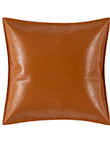 cheap -1 pc Faux Leather Pillow Cover Solid Colored Square Modern Classic Light Luxury