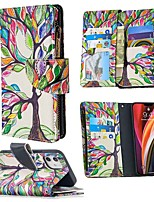 cheap -Case For Apple iPhone 12 / iPhone 12 Mini / iPhone 12 Pro Max Wallet / Card Holder / with Stand Full Body Cases Tree PU Leather