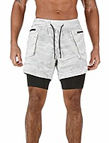 cheap -mens athletic outdoor 2 in 1 workout running shorts sport quick drypants with pocket & #40;grayish white double layers, m& #41;