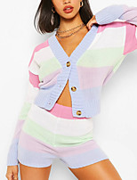 cheap -Women's Streetwear Striped Color Block Two Piece Set V Neck Sweater Shorts Patchwork Tops / Slim