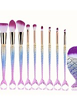 cheap -makeup brush set,  10 pcs mermaid brush light color premium synthetic silver foundation blending blush face powder brush makeup brush kit (multicolor)