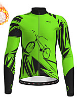 cheap -21Grams Men's Long Sleeve Cycling Jacket Winter Fleece Green Bike Jacket Top Mountain Bike MTB Road Bike Cycling Fleece Lining Warm Sports Clothing Apparel / Stretchy