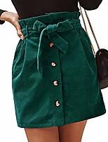 cheap -women paperbag high waist elastic belted corduroy button front with pockets short mini skirt  medium  green