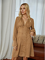 cheap -Women's Sheath Dress Short Mini Dress - Long Sleeve Solid Color Ruched Fall Winter V Neck Elegant Vintage Party Going out 2020 Brown S M L XL
