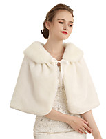 cheap -Half Sleeve Shawls Faux Fur Wedding Women's Wrap With Lace-up