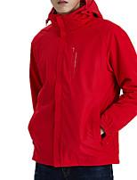 cheap -Men's Hiking Jacket Hiking 3-in-1 Jackets Winter Outdoor Solid Color Waterproof Windproof Fleece Lining Breathable Winter Jacket Hunting Fishing Climbing Dark Grey Black Red Blue Dark Navy / Warm