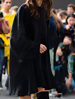 cheap -Women's Shift Dress Short Mini Dress - Long Sleeve Solid Color Patchwork Fall Casual 2020 Black Beige Gray L XL XXL 3XL 4XL