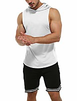cheap -men's muscle fit workout hooded tank gym fitness quick dry sleeveless hoodies white xxl