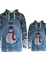 cheap -Daddy and Me Active Santa Claus Snowman Graphic 3D Print Print Long Sleeve Regular Hoodie & Sweatshirt Light Blue