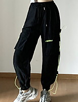 cheap -Women's Sporty Outdoor Loose Daily Pants Tactical Cargo Pants Solid Colored Full Length High Waist Black