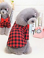 cheap -warm pet sweater puppy clothes for cold weather & pet dog gentle plaid checked shirt bow tie decor clothes puppy formal apparel