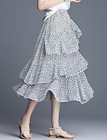 cheap -Women's Causal Daily Active Streetwear Chiffon Skirts Leopard Polka Dot Layered White Black Light gray / Winter