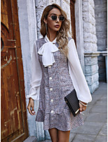 cheap -Women's A-Line Dress Short Mini Dress - Long Sleeve Check Bow Print Fall Casual Puff Sleeve 2020 Blue S M L XL