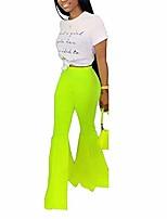cheap -women causal ruffle flare high waist stretchy bell bottoms slim fit wide-legged pants green