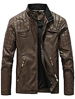 cheap -men's faux leather jacket slim fit stand collar pu motorcycle jackets lightweight classic coffee x-large