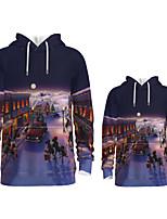 cheap -Daddy and Me Active Santa Claus Graphic 3D Print Print Long Sleeve Regular Hoodie & Sweatshirt Purple