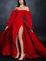 cheap -A-Line Minimalist Sexy Wedding Guest Formal Evening Dress Off Shoulder Long Sleeve Sweep / Brush Train Taffeta with Split 2020