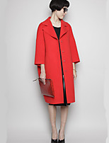 cheap -Women's Fall & Winter Single Breasted Coat Long Solid Colored Daily Basic Red S M L XL