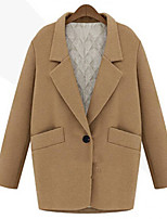 cheap -Women's Fall & Winter Coat Regular Solid Colored Daily Basic Wool Black Army Green Camel XS S M L