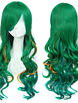 cheap -Cosplay Movie / TV Theme Costumes Cosplay Wigs Women's Side bangs 28 inch Heat Resistant Fiber Curly Green Teen Adults' Anime Wig