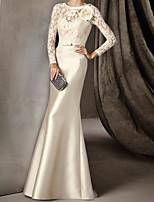 cheap -Mermaid / Trumpet Elegant Vintage Engagement Formal Evening Dress Illusion Neck Long Sleeve Sweep / Brush Train Lace Satin with Sash / Ribbon Appliques 2020