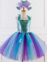 cheap -Princess Cosplay Costume Costume Girls' Movie Cosplay Tutus Braided / Cord Purple / Blue Dress Headwear Christmas Halloween Carnival Polyester / Cotton Polyester
