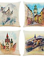 cheap -Set of 4 Watercolor City Linen Square Decorative Throw Pillow Cases Sofa Cushion Covers 18x18