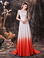cheap -A-Line Color Block Maxi Prom Formal Evening Dress Jewel Neck Sleeveless Sweep / Brush Train Chiffon with Appliques 2020