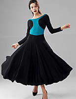 cheap -Ballroom Dance Dress Ruching Split Joint Women's Performance Long Sleeve Crystal Cotton