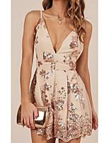 cheap -Women's A-Line Dress Short Mini Dress - Sleeveless Floral Print Spring Fall V Neck Casual Elegant Cotton 2020 Gold S M L XL