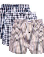 cheap -3pk men's woven boxershorts, 100% cotton underwear boxers short for men, button fly navy & purple & orange l