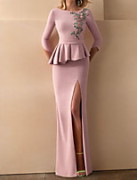 cheap -Mermaid / Trumpet Floral Peplum Wedding Guest Formal Evening Dress Boat Neck 3/4 Length Sleeve Sweep / Brush Train Stretch Satin with Ruffles Split Appliques 2020