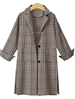 cheap -Women's Coat Long Plaid Daily Basic Khaki Gray XL XXL 3XL 4XL