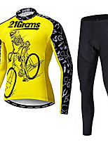 cheap -21Grams Men's Long Sleeve Cycling Jersey with Tights Winter Fleece Black / Yellow Bike Fleece Lining Breathable Sports Graphic Mountain Bike MTB Road Bike Cycling Clothing Apparel / Stretchy