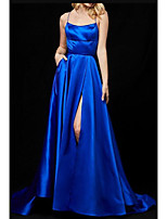 cheap -A-Line Minimalist Sexy Wedding Guest Formal Evening Dress Spaghetti Strap Sleeveless Sweep / Brush Train Satin with Sleek Split 2020