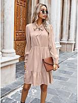 cheap -Women's A-Line Dress Short Mini Dress - Long Sleeve Print Bow Fall Casual 2020 Red Blushing Pink Army Green S M L XL
