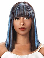 cheap -inkach short bob wig with neat bangs straight full hair wigs heat resistant synthetic fiber daily cosplay party wig for black women (multicolor)