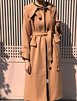 cheap -Women's Fall & Winter Coat Long Solid Colored Daily Basic Camel Gray S M L XL