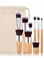 cheap -makeup brushes set,11 pieces professional cosmetic brushes set include eye shadow, concealer, eyebrow, foundation brushes,powder liquid cream blending brushes set with premium bamboo handles