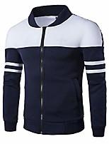 cheap -fashion men's autumn winter zipper sportswear jacket patchwork jacket long sleeve coat navy