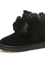 cheap -Women's Boots Snow Boots Flat Heel Round Toe Booties Ankle Boots Casual Daily Walking Shoes Nubuck Pom-pom Solid Colored Almond Black Coffee / Booties / Ankle Boots / Booties / Ankle Boots
